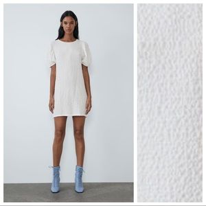 NWT. Zara White Wrinkle Look Mini Dress. Size L.